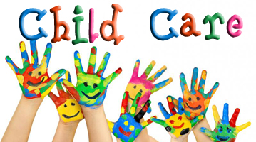 "waving painted hands with smiley faces and the phrase ""child care"""